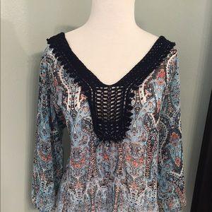 Maurice's Boho Sheer top w/ 3/4 sleeves.Size XL.